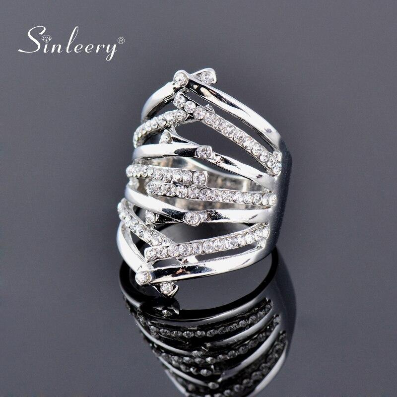 SINLEERY 2020 à la mode couleur argent croix bagues avec zircon cubique mode fête bijoux taille 7 8 9 JZ184 SSH
