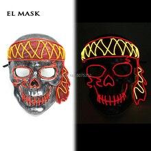 Masque mascarade néon Led Pirate Masque Cosplay EL fil Masque Halloween brillant fête éclairer Masque livraison directe