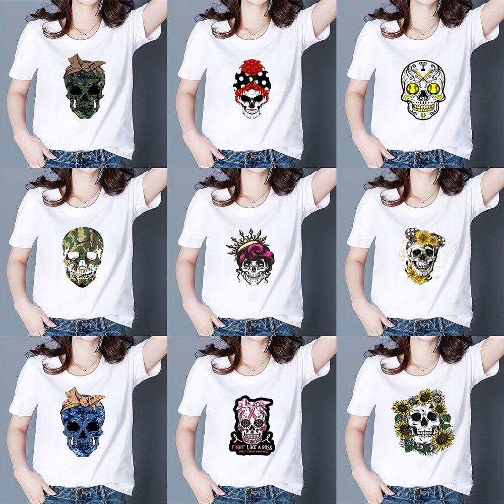 Nette Günstige Kühlen Harajuku T shirt Frauen Vintage Punk pretty Fashion T-shirt Spezielle und verschiedene kleid up schädel Grafik T-shirt