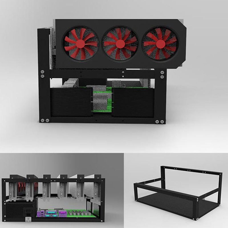 Steel Open Air Miner Mining Frame Rig Case Up to 6 GPU for Crypto Coin Currency Mining New 50x28.5x22.5cm