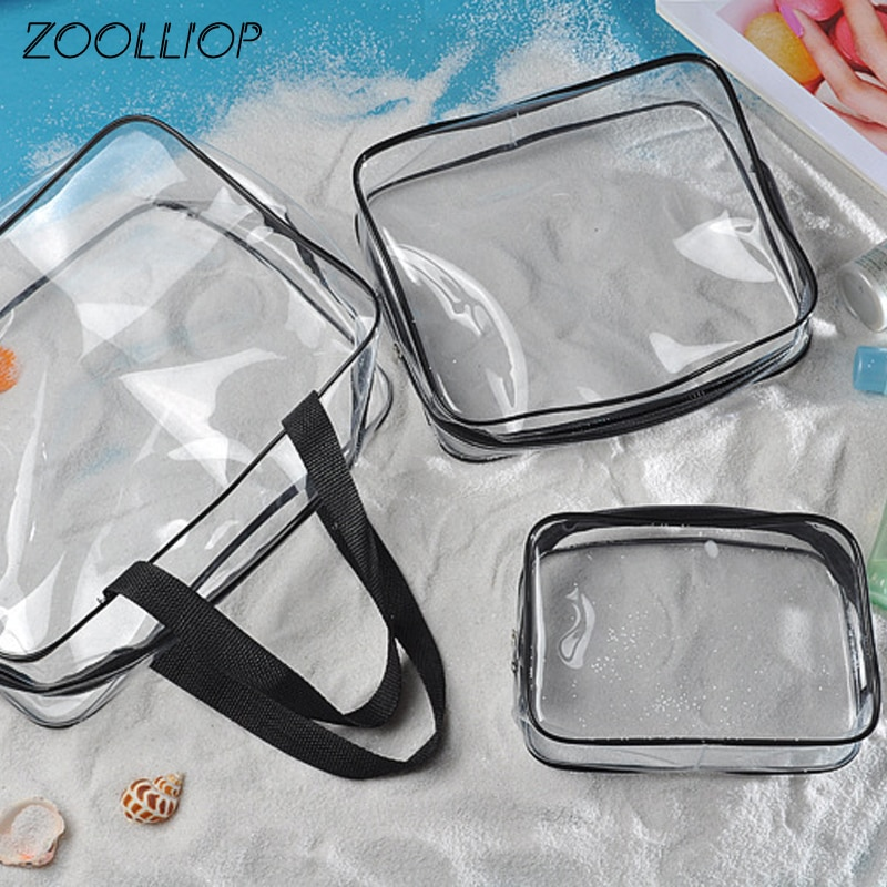 Travel PVC Cosmetic Bags Women Transparent Clear Zipper Makeup Bags Organizer Bath Wash Make Up Tote