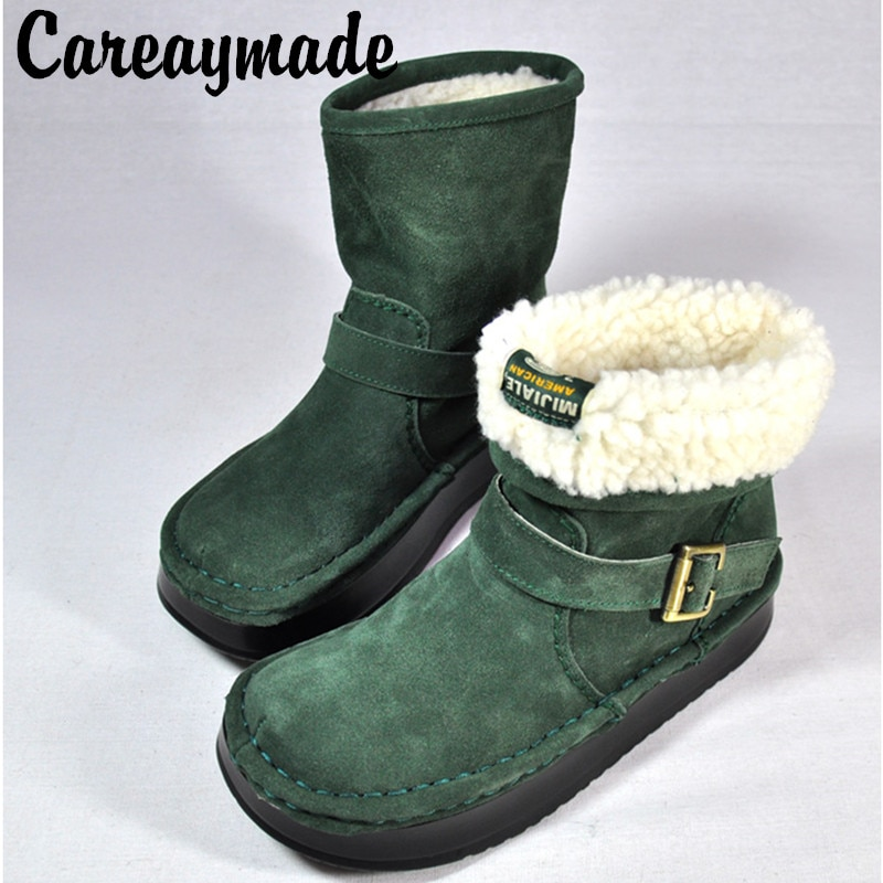 Careaymade-موضة أحذية نسائية الشتاء الثلوج الأحذية القطن أحذية بوت قصيرة سميكة سوليد الأحذية الأحذية الجلدية الأرض ، 3 ألوان تناسب