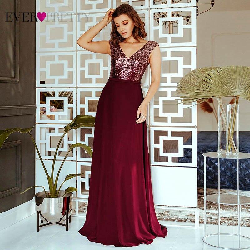 Блестящие вечерние платья Ever Pretty EP00962BD, с блестками, а-силуэта, с треугольным вырезом, без рукавов, бордовые, Формальные платья, Robe De Soiree 2020