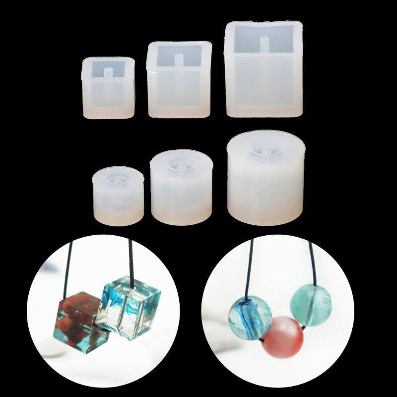 Bola cuadrada transparente de silicona DIY, molde de cuentas, pulsera, pendiente, fabricación de joyería de colgantes, Molde de resina DIY, Kits de molde para joyería artesanal