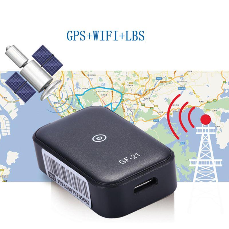 GF21 جهاز تعقب GPS للسيارات صغير App مكافحة خسر جهاز التحكم الصوتي تسجيل محدد عالية الوضوح ميكروفون واي فاي + LBS + لتحديد المواقع