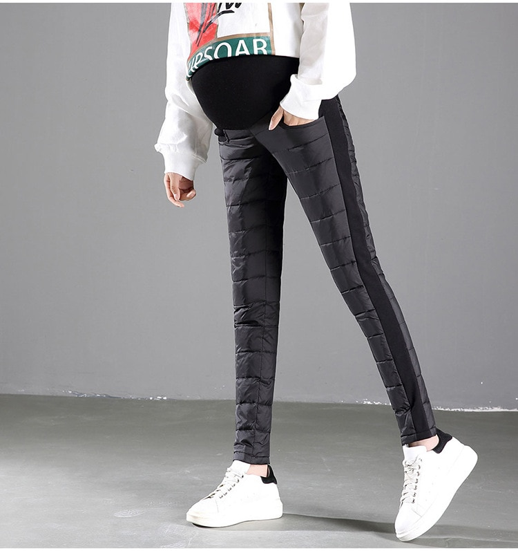 Maternity Duck Down Pencil Pants Pregnant Women Winter Warm Pregnancy Belly Adjust Elastic Thick Clothes Nursing Trousers enlarge