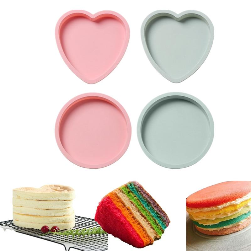 6/8 Polegada multicamadas arco-íris bolo molde coração/redondo não-vara silicone fondant bolo molde decoração ferramentas cozimento pan pizza molde