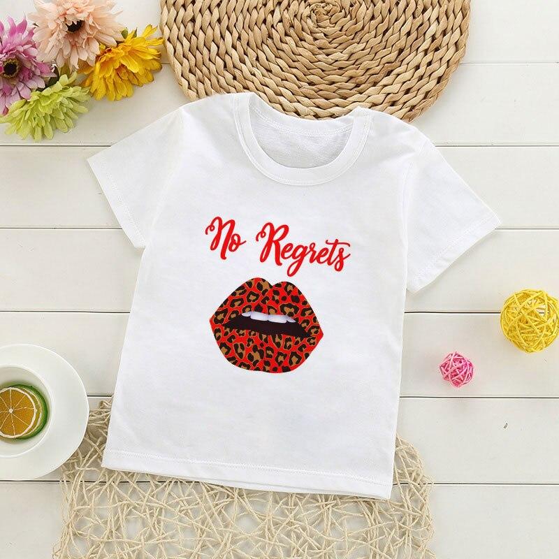 Estampado de leopardo labios Sexy Blessed Mama True Love camisetas de chicos dibujos animados chica Tops Cute Baby Girls camiseta Kawaii o-cuello niños camiseta