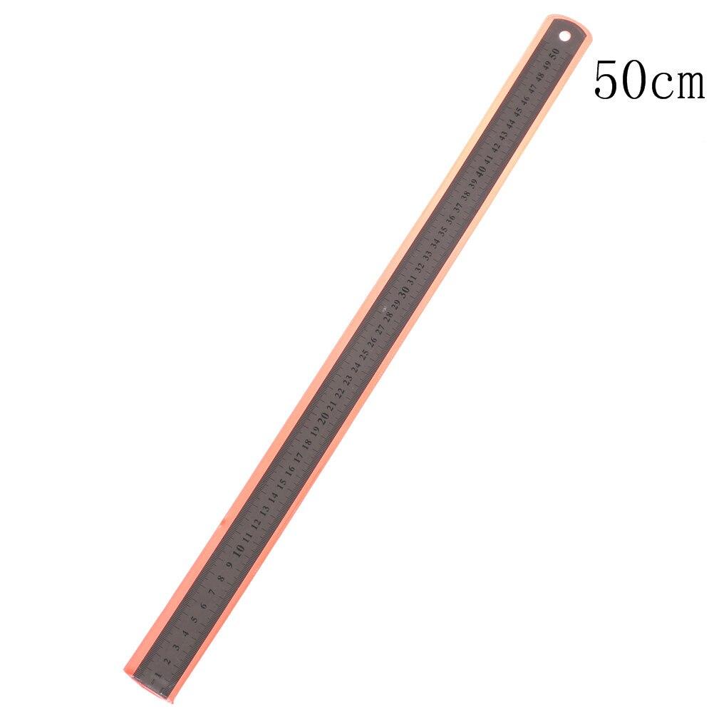 1 Uds. Útil herramienta de medición de doble cara de precisión de 50 cm, herramienta de regla recta de acero inoxidable para coser pies