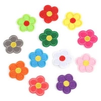 embroidered patches of flowers with five petals in 12 colors cloth stickers clothing accessory patches ironed onto clothes