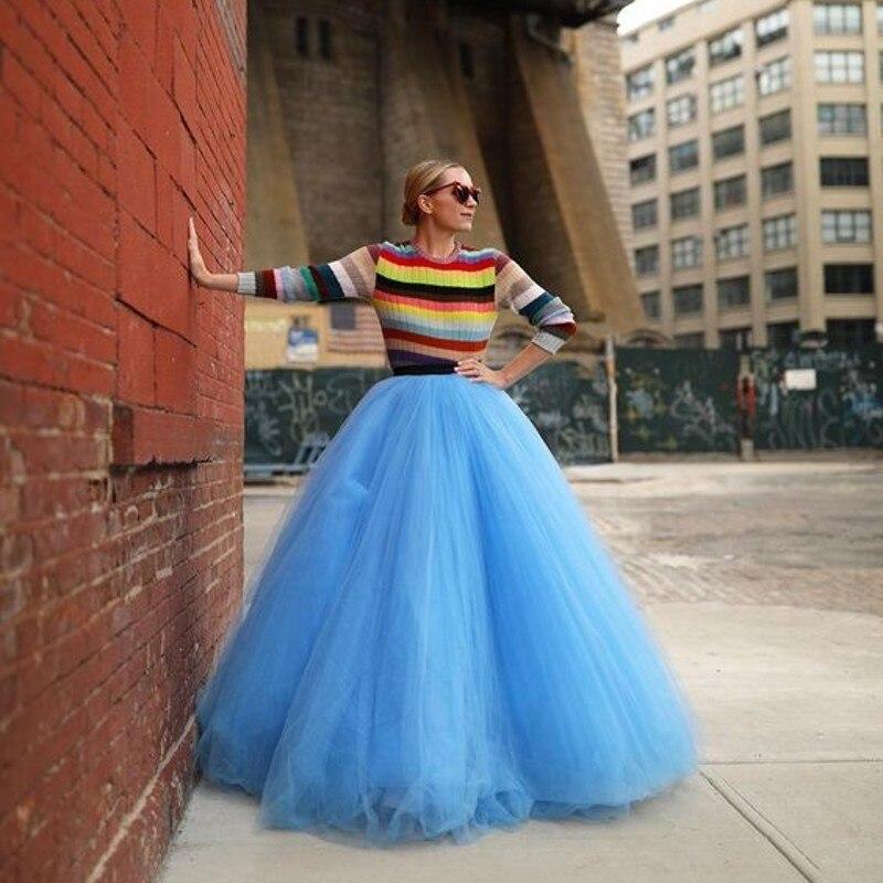 Falda de tul azul muy exuberante con línea de forma de A, falda larga de tul elástica para mujer, falda tutú hecha a medida para fiestas, falda Saias