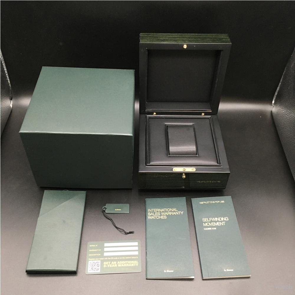2021 Best Quality Dark Green Watch  Box Gift Case  Watches Booklet Card And Papers In English Watches Boxes