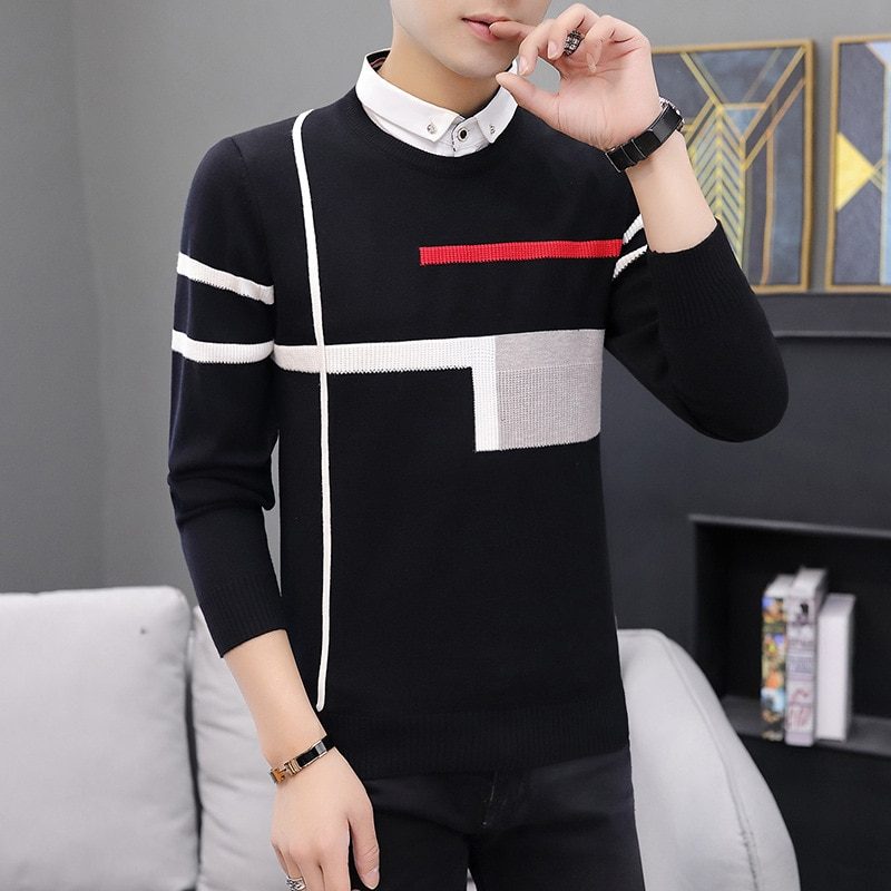 Модный Повседневный свитер с отложным воротником, повседневный мужской свитер с длинным рукавом, осенний свитер