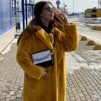 gamporl 2021 winter new fashion faux rex rabbit fur coats and jackets for women solid color long overcoat turn down collar lapel