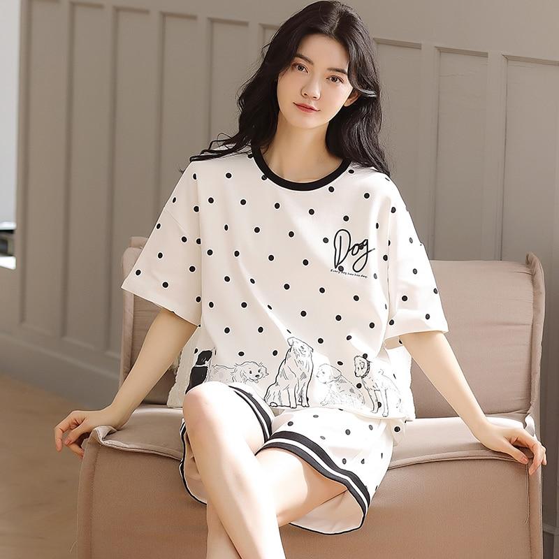 Primavera e Outono Pijamas Femininos Verão Algodão Manga Curta Nova Tendência Ponto Quente Ins Terno Homewear