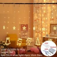 christmas snowflakes led string light curtain light christmas decoration for home christmas ornament new year 2022 decor navidad