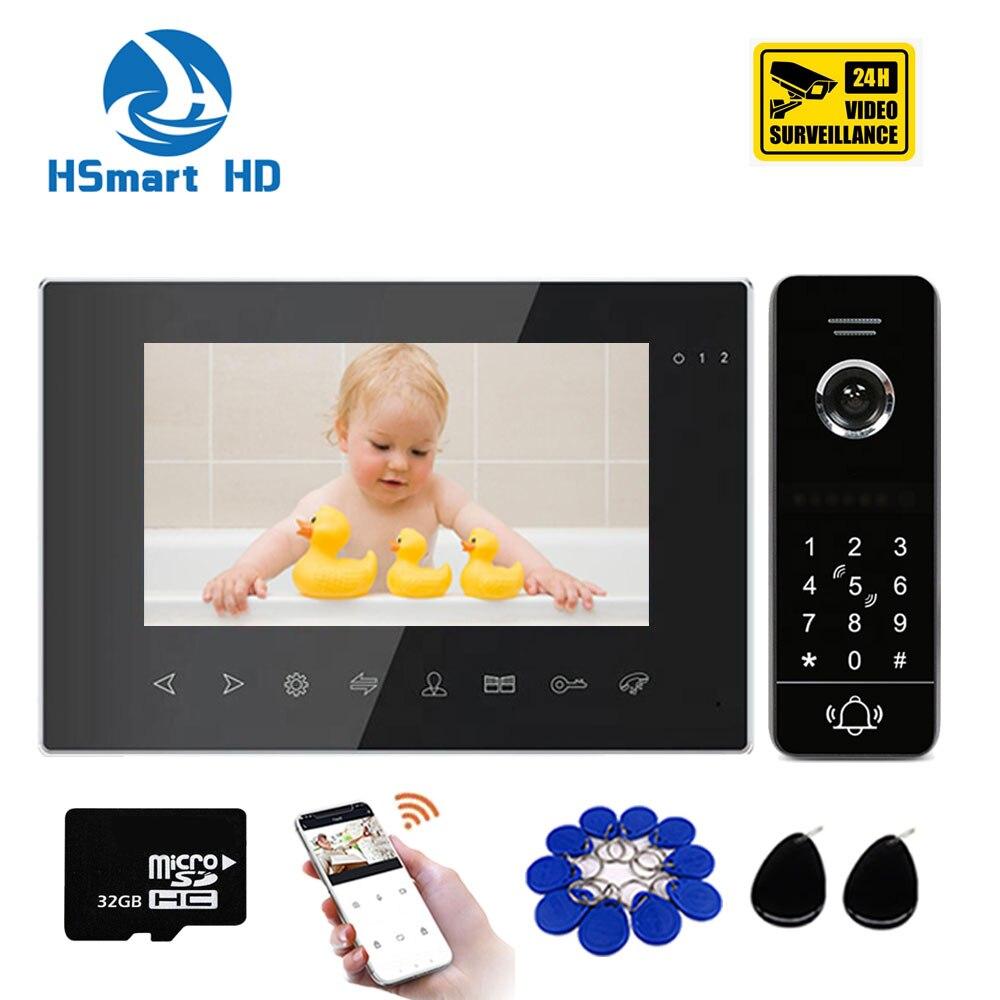 WIFI Video Intercom System Waterproof Smart Sired Password Unlock Camera Wifi Video Door Bell Doorbell System 7inch LCD Intercom
