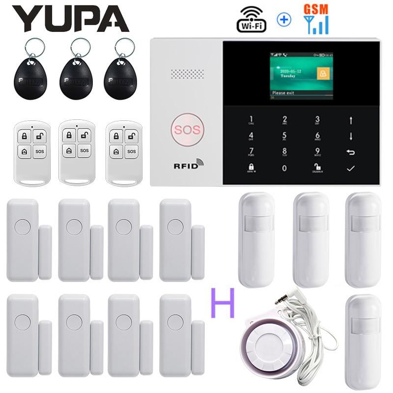 433MHz اللاسلكية واي فاي نظام إنذار أمن داخلي بالنظام العالمي للاتصالات المتنقلة يدعم 3 مناطق السلكية APP التحكم 11 لغات لص مكافحة سرقة منزل عدة