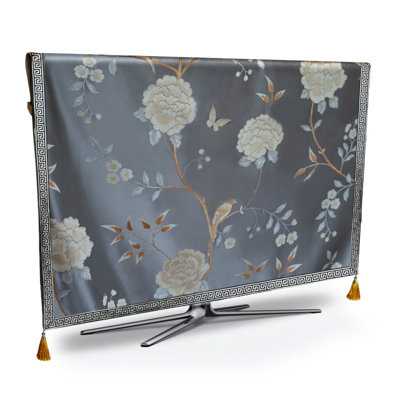 TV Dust Cover Luxury Flower Weatherproof Dust-proof Protect LCD LED Plasma Television Tissue Table Runner Cloth Cushion Cover enlarge