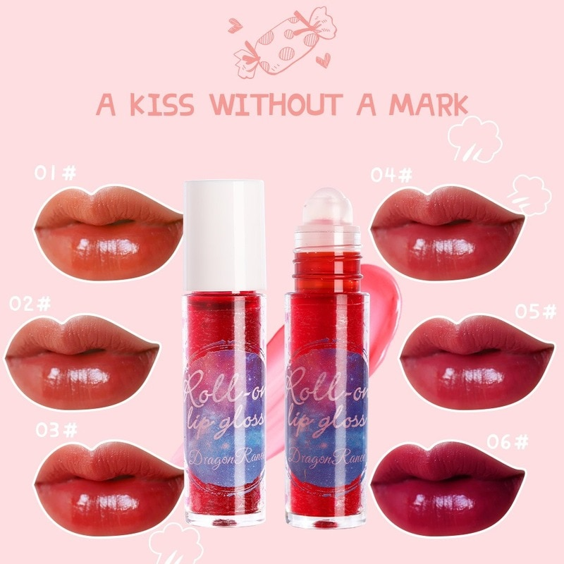 Lip Balm 6 Color Lip Glaze Matte Long Lasting Moisturizing Lip Gloss Glitter Powder Dye Liquid Lip Oil Red Lip Gloss Care Makeup