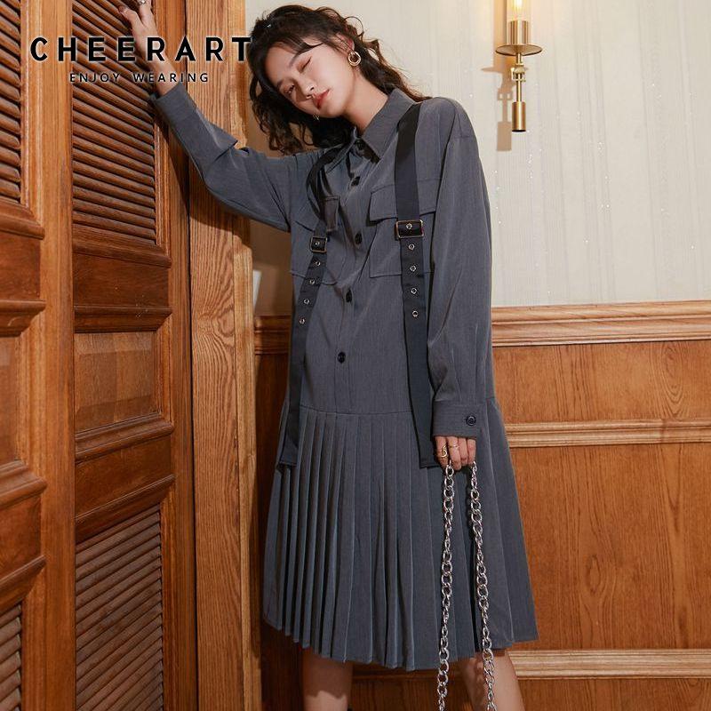 Cheerart outono cinza vestido de camisa plissada feminina manga longa botão até colarinho vestido fita bolsos duplos vestido solto 2020