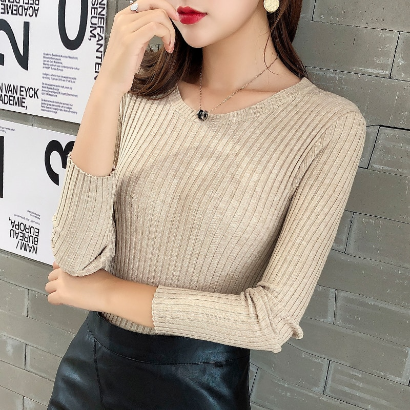 Early Autumn round Neck Pullover Sweater Women's Fall/Winter Slim Skinny Inner Match Short Long Slee