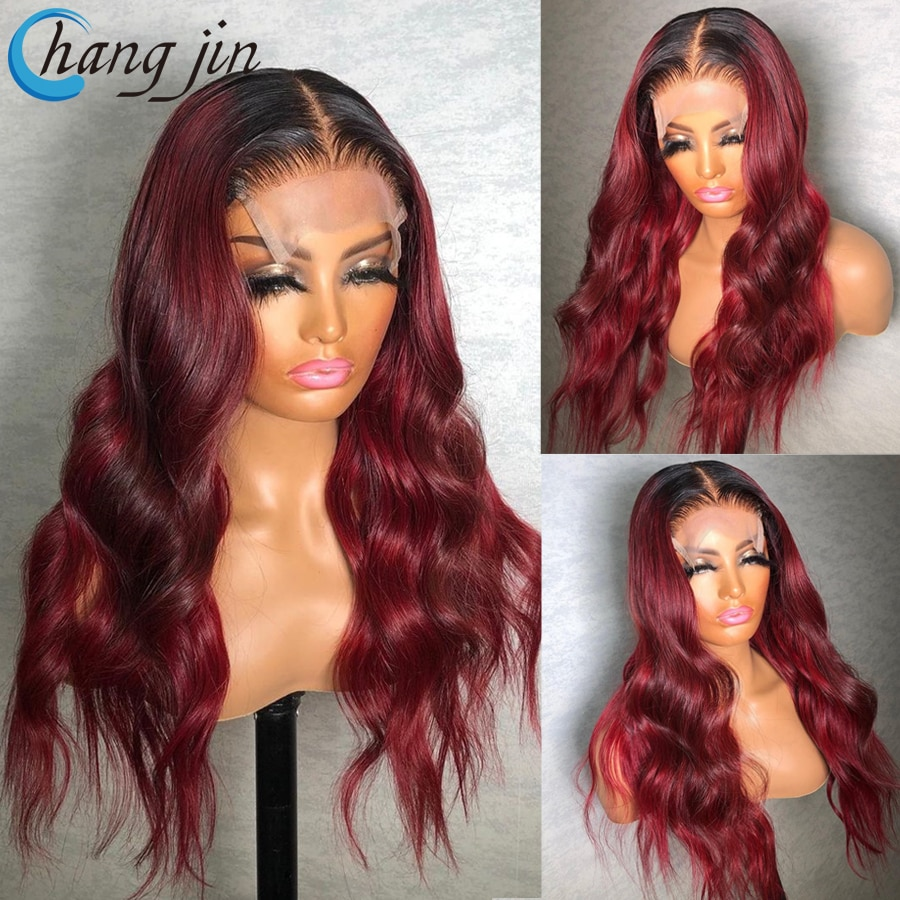 Ombre 99J Color Indian Human Hair Wigs For Women Remy Hair 13x4 Lace Front Wigs with Baby Hair Body