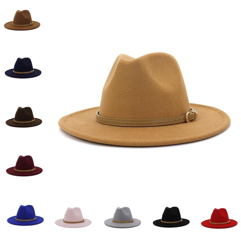 Simple Unisex  Wide Brim Wool Felt Jazz Hat Cap Men Women Flat Brim Wool Blend Fedora Hats Panama Tr