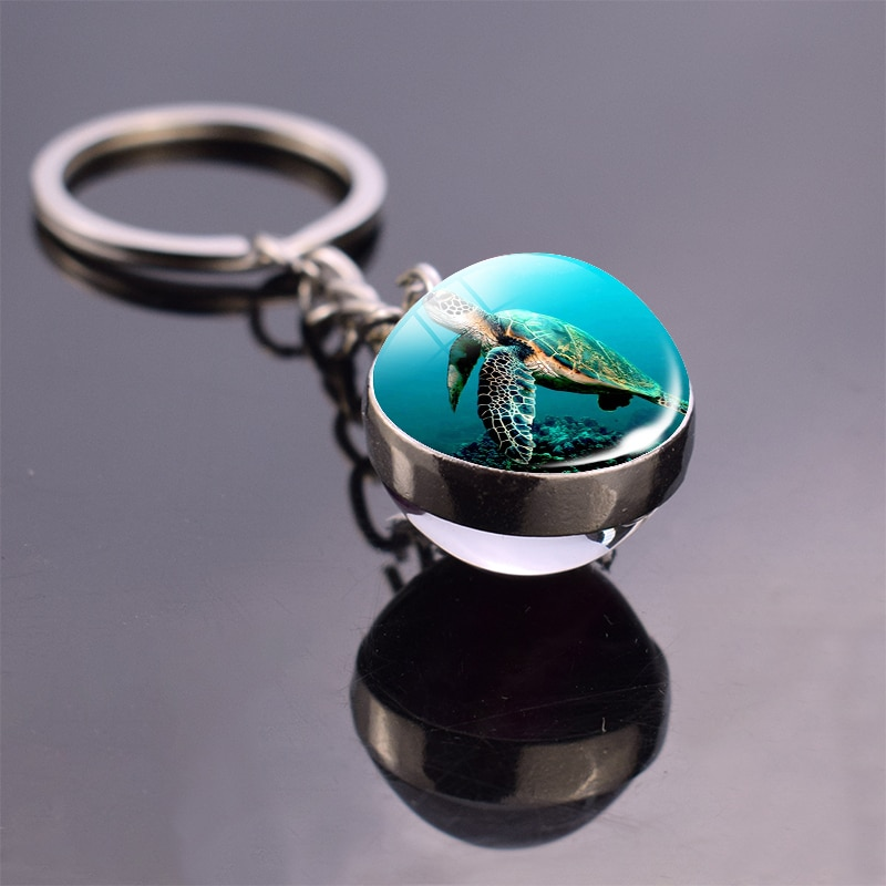 Tartaruga do mar chaveiro bola de vidro pingente oceano animal chaveiro chaveiro chaveiro aço inoxidável tartaruga jóias fkg