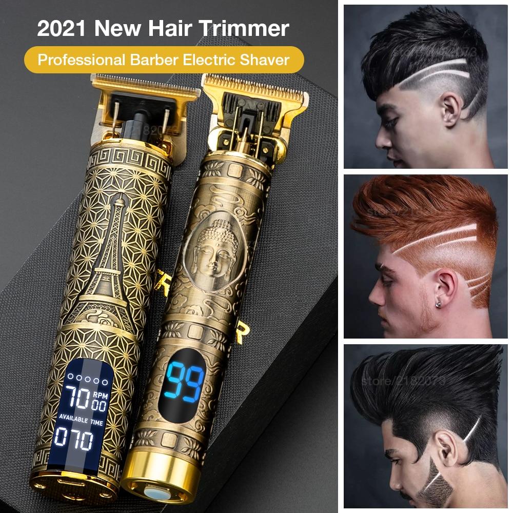 Hair Trimmer For Man USB Rechargeable T-Outliner LCD Hair Clipper Barber Shop Men's Shaver Trimmer B