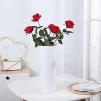 Unique Elegant Belle Europeenne Fleurs Artificielles Rose Simulation Flanelle Fleurs Bouquet Maison Fete Mariage BRICOLAGE Decoration