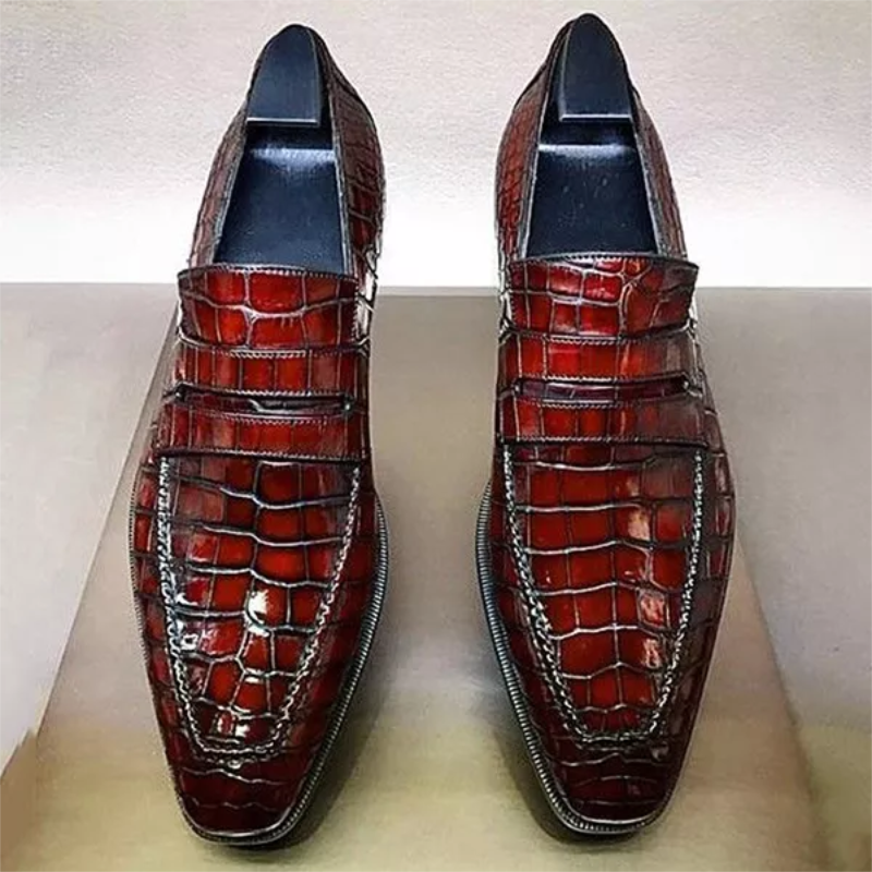 Men's Handmade High-quality PU Red Classic Crocodile Pattern Slip-on Loafer Fashion Casual All-match