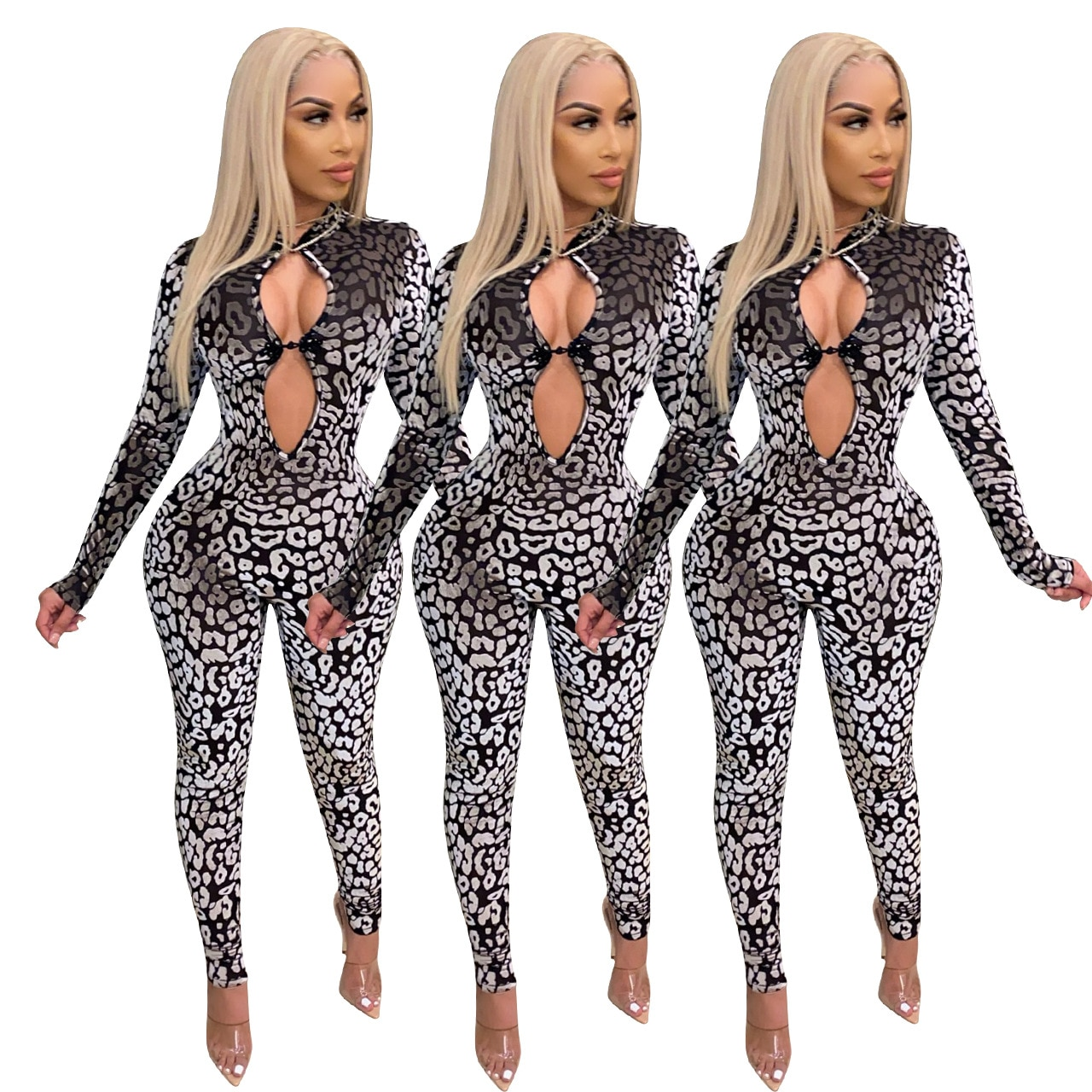 Sexy High Waist Bodycon Stone Stripe Print Hollow Out Jumpsuits Women Winter Clothes Fashion Casual Rompers
