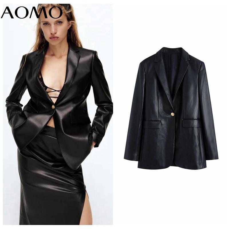 AOMO المرأة خمر جلد صناعي أسود السترة الإناث طويلة الأكمام سترة أنيقة السيدات السترة الدعاوى BE410A