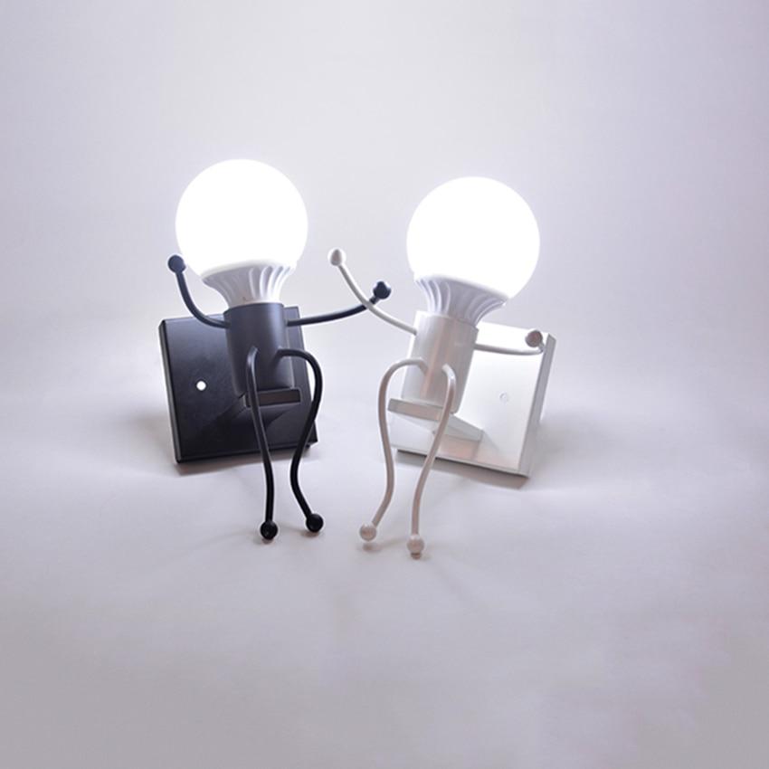Nordic Iron Led Wall Lamp American Wall Lights Metal Cartoon Robot Sconce Wall Light Fixtures Lighting Children Room Luminaire