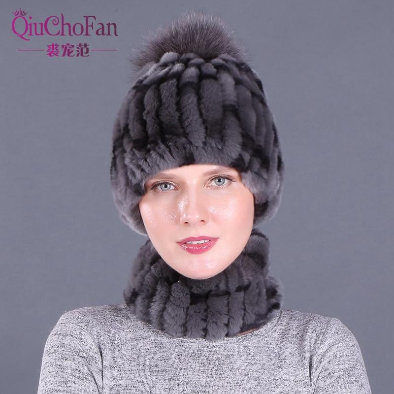 Winter 100% Real Rex Rabbit Fur Women Hat Scarf Sets Comfortable Warm Vintage Fur Casual Female Ladies Caps Scarves