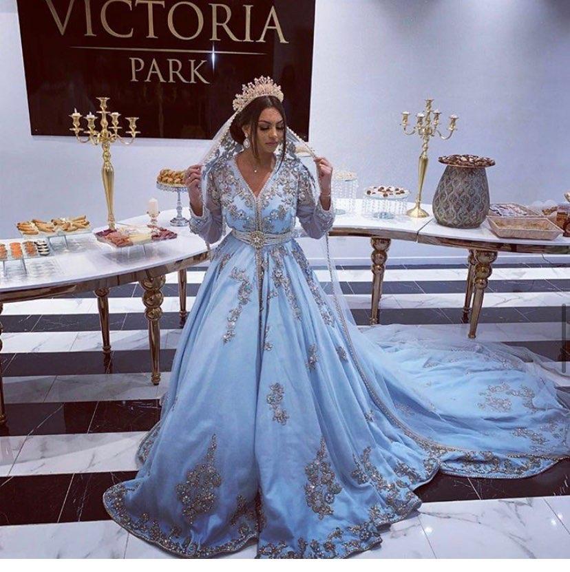 Smileven-فستان سهرة على الطراز العربي الإسلامي للمناسبات الخاصة ، قفطان ، فستان أزرق ، ياقة على شكل V ، فستان للأم للمناسبات الخاصة