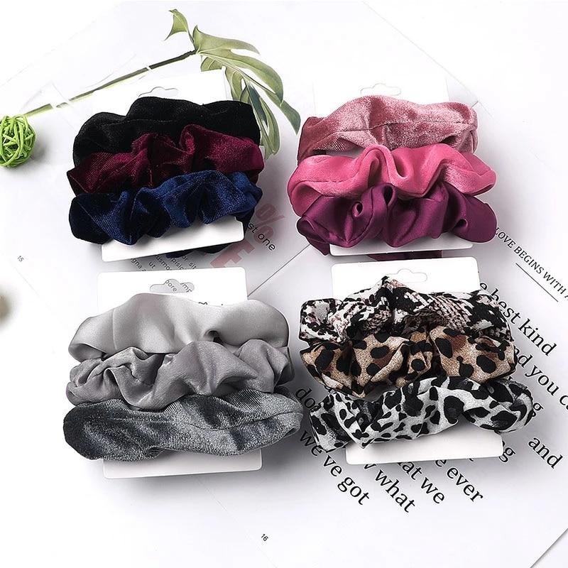 3pcs set beludru vintage scrunchie leopard, tali rambut elastik, ikat - Aksesori pakaian - Foto 2
