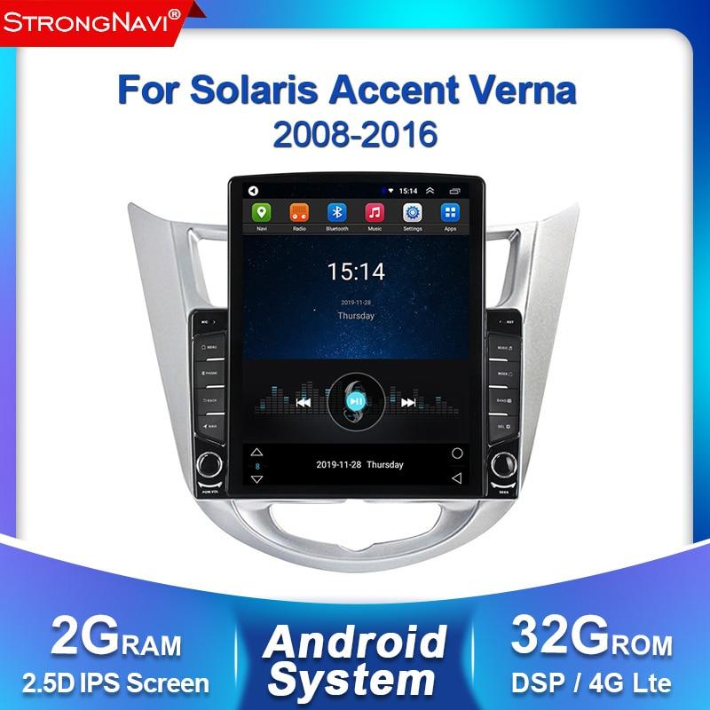 Tesla screen 2+32G Car Radio Multimedia Video Player Navigation GPS Car Android For Hyundai Solaris Accent Verna 2008-2016 WIFI