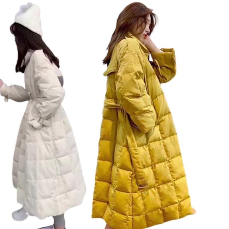 Abrigo de invierno holgado sobre la rodilla fino cazadora chaqueta mujer Vintage de talla grande coreano Manteau Femme Hiver pato blanco abajo chaquetas
