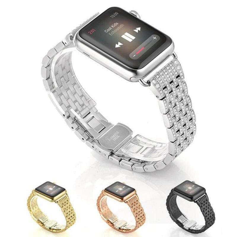 Pulsera de lujo de diamante de acero inoxidable para apple watch Correa 4 3 42 44 38mm 40mm reloj de metal para iwatch 5 4 3