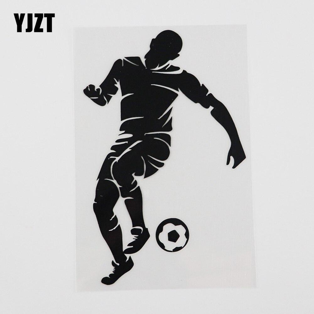 YJZT 9.9CMX15.5CM Silhoutte football joueur balle voiture autocollants vinyle décalque noir/argent 8A-0270