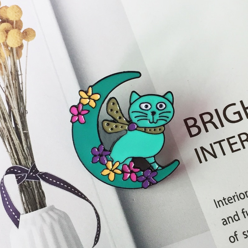 fashion cartoon moon flower cat metal brooch cute funny cat badge brooch children's clothing accessories accessories gifts  - buy with discount
