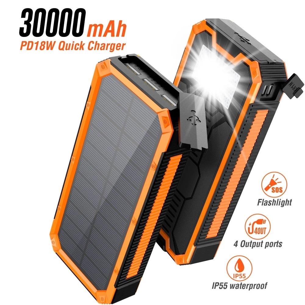 30000mAh بنك الطاقة الشمسية 18 واط PD اتجاهين شحن سريع Powerbank آيفون 12 برو 11 هواوي شاومي Poverbank مع التخييم الخفيفة
