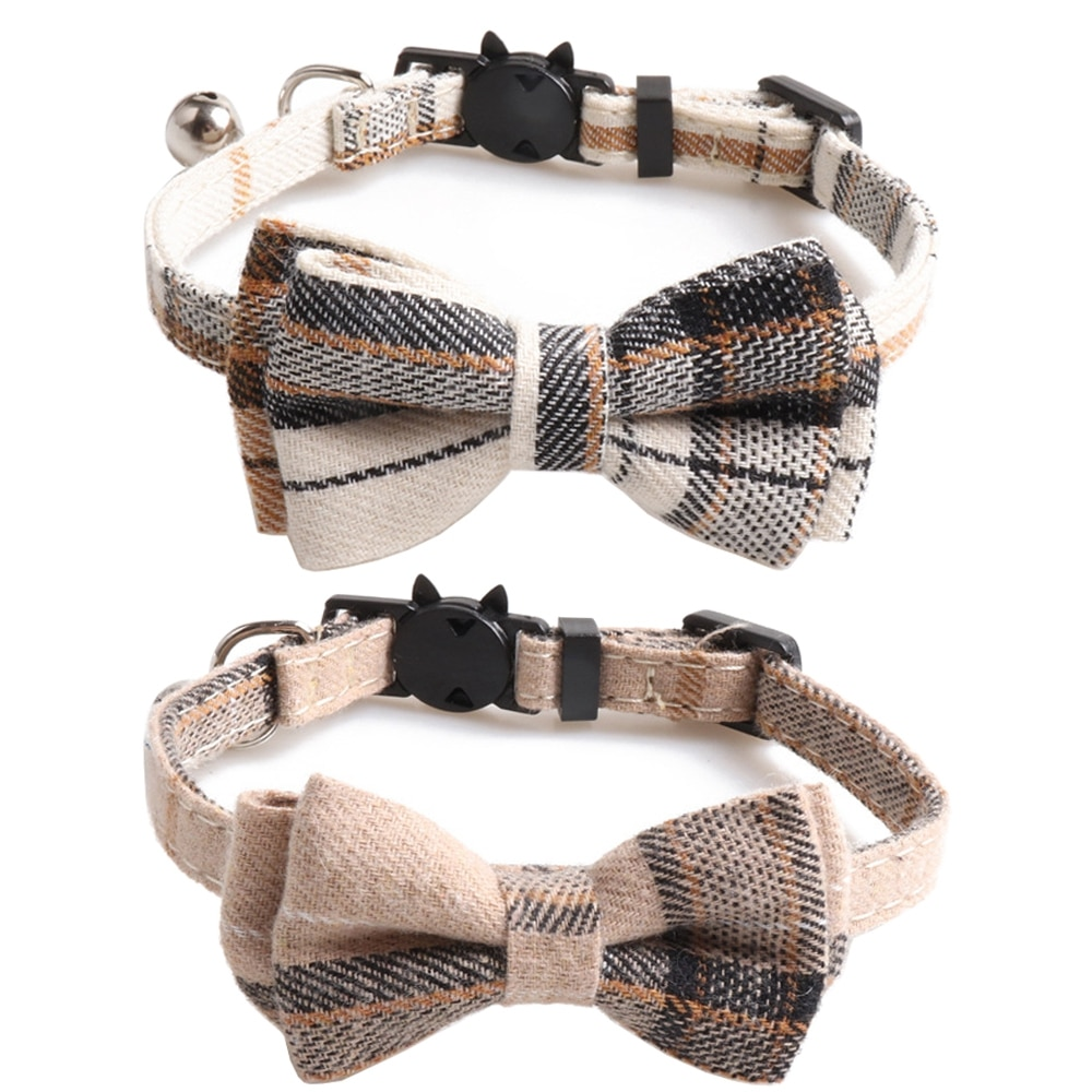 Bowtie Cat Collar Breakaway with Bell Classic Plaid Adjustable Safety Kitten Collars for Pet and Puppies from 7.8~10.2 Inch contrast tied bell cuff and collar plaid dress
