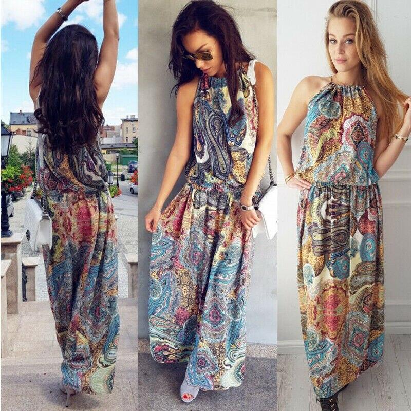 2019 Brand New Style Boho Women Floral Maxi Dress Sleeveless Print Summer Evening Long Beach Sundress