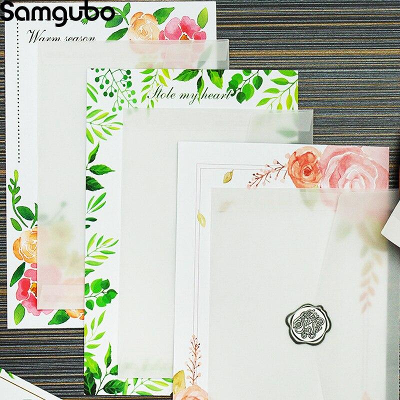 8 шт./лот серия растений бумага для письма стационарная бумага канцелярская бумага простая искусство Романтический растительный узор