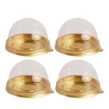 50Pcs Round Egg-Yolk Puff Mooncake Box Transparent Plastic Box Packing Box (Gold)