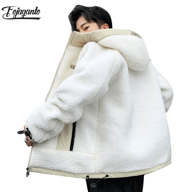FOJAGANTO de los hombres de invierno cálido chaquetas de lana Hombre Color sólido salvaje prendas de vestir con bolsillos de marca Casual para hombre chaqueta de manga larga abrigos