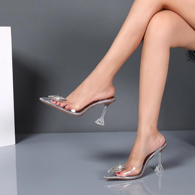 ¡Novedad! Tacones claros de cristal Doris Fanny para mujer, sandalias de punta estrecha de PVC, zapatos de verano transparentes